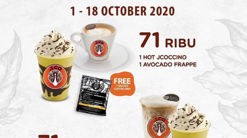 J.Co Amazing Coffee Promo, Paket Dua Minuman dan 1 Jcofee Drip Rp 71 Ribu, Periode 1-18 Oktober 2020
