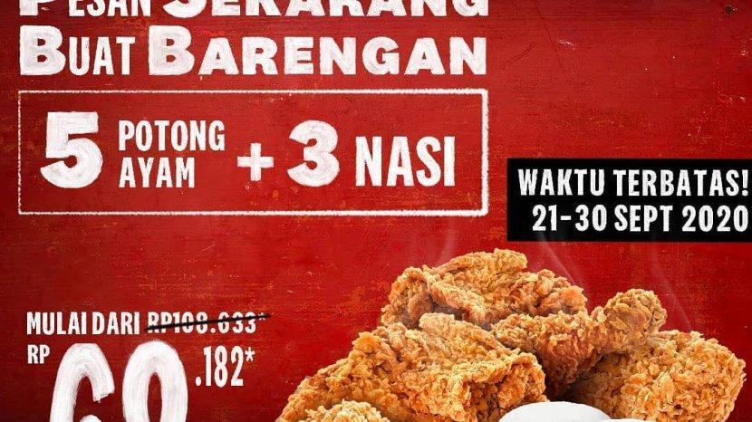 Paket PSBB KFC, 5 Potong Ayam dan 3 Nasi Mulai Rp68.182 Selama 21-30 September 2020 Se-Indonesia