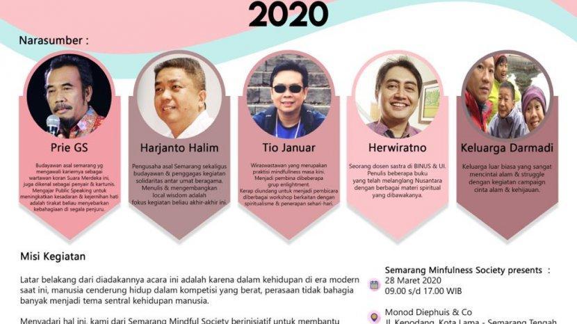 Semarang Mindfulness Day 2020 Akan Diadakan Pada 28 Maret 2020, Biaya Investasi Rp 190 Ribu