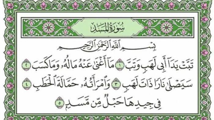 Surat Al Lahab Lengkap dengan Terjemahan dan Keutamaannya
