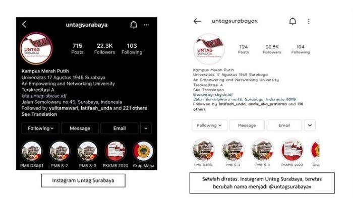 Penting! Akun Instagram Official Untag Surabaya Diretas, Nama Akun Diganti