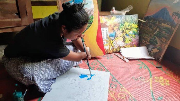 Dalam Keterbatasan, Puji Membuat Lukisan dan Bercita-cita untuk Dijual ke Pencinta Lukisan