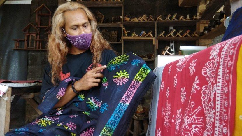 Uniknya Batik Bermotif Virus Corona di Bantul