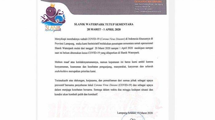 Slanik Waterpark Tutup Sementara untuk Cegah Penyebaran Virus Corona