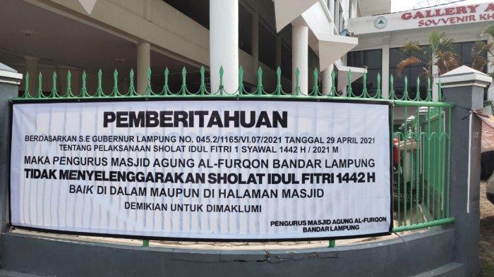Masjid Al Furqon Bandar Lampung Tak Gelar Salat Idul Fitri 1442 H