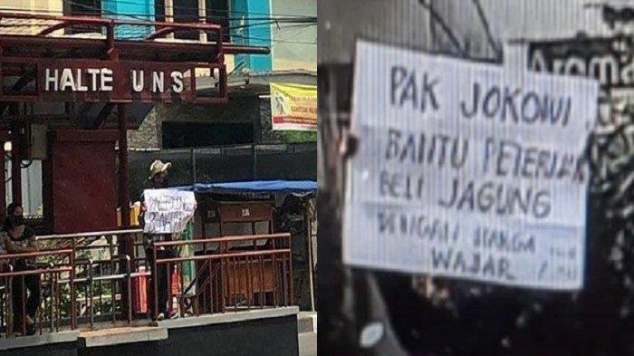 Mahasiswa UNS bentangkan poster saat Presiden Joko Widodo lakukan kunjungan ke kampus UNS