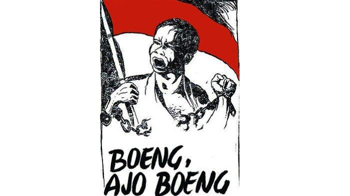 Poster propaganda Boeng, ajo, Boeng! karya Affandi, 1945