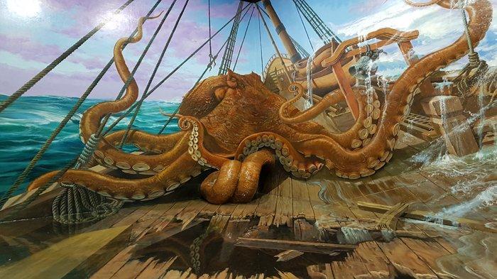 Lukisan 3D Gurita besar di Wahana Aqua Zone
