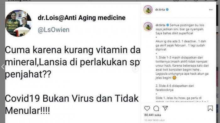 kter Lois Owen membuat heboh dunia maya karena menyebarkan informasi bahwa Covid-19 bukanlah disebabkan virus. Sang dokter pun menyebut banyaknya pasien meninggal di rumah sakit bukan karena Covdi-19, melainkan interaksi obat-obatan yang berlebihan.