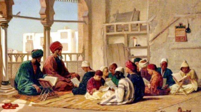 Ilustrasi Sufyan ats-Tsauri sedang belajar ilmu hadis