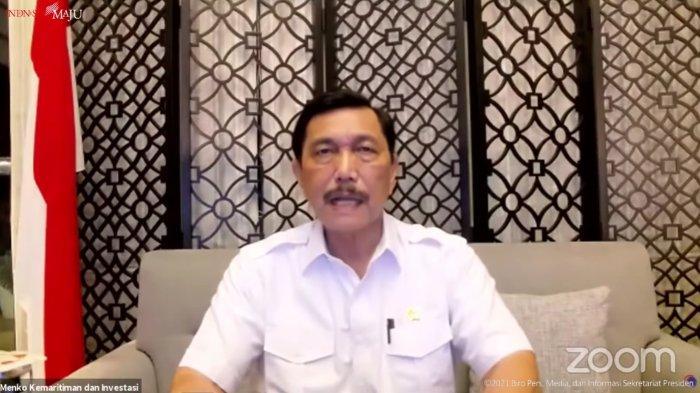 Luhut Binsar Pandjaitan dalam konferensi pers PPKM yang ditayangkan di YouTube Sekretariat Presiden, Senin (13/9/2021).