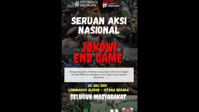 Poster seruan aksi tolak PPKM lewat demo 'Jokowi End Game' tersebar luas di media sosial.