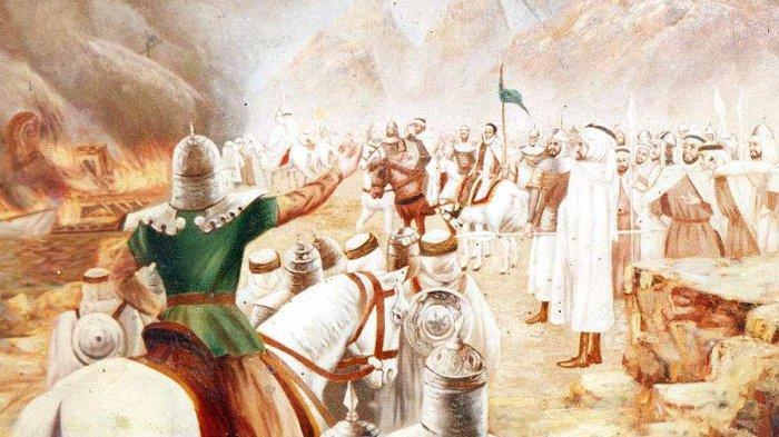 Ilustrasi Thariq bin Ziyad bersama pasukannya