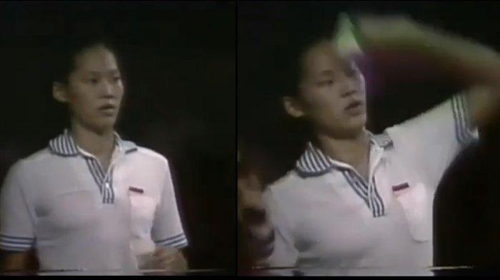 Verawaty Fajrin, ratu bulutangkis Indonesia, saat tampil sebagai tunggal putri. Legenda bulu tangkis yang kini berusia 63 tahun itu sedang berbaring sakit karena kanker paru dan butuh bantuan