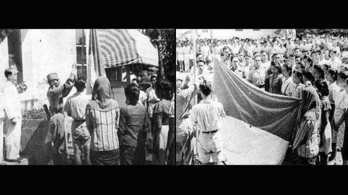 Foto karya Frans Mendur yang mengabadikan detik-detik proklamasi Indonesia di Jalan Pegangsaan Timur Nomor 56, Cikini, Jakarta, 17 Agustus 1945.