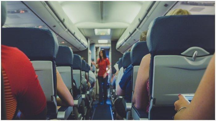 Ilustrasi pramugari dan penumpang pesawat.