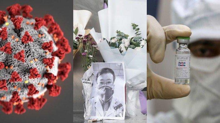 Kolase gambar Virus Corona, Dr Li Wenliang dan Vaksin Covid-19