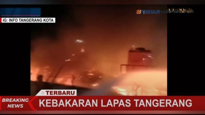 Kebakaran yang terjadi di Lembaga Pemasyarakatan Kelas I Tangerang, Banten sekitar pukul 02.00, Rabu (08/09/2021) pagi.