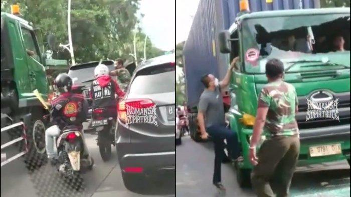 Tangkapan layar video viral pengemudi Pajero pecahkan kaca truk hingga hendak lakukan pemukulan sopir truk kontainer pada Sabtu (26/6/2021) di daerah Sunter, Jakarta Utara.