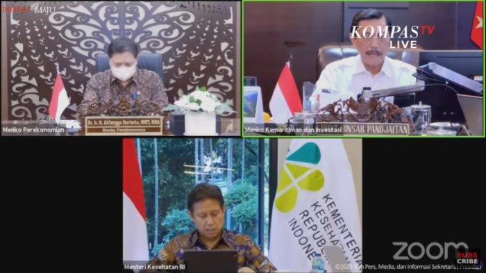 Menko Perekonomian Airlangga Hartarto, Menko Marves Luhut Binsar Pandjaitan, dan Menteri Kesehatan Budi G Sadikin dalam Keterangan Pers mengenai Perkembangan PPKM Terkini, Senin (20/09/2021) sore.