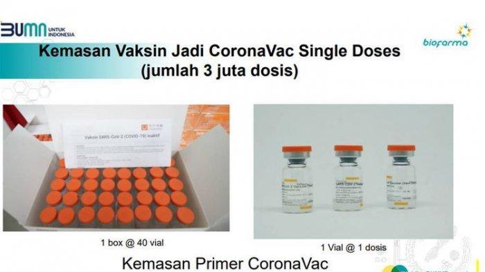 Kemasan vaksin jadi CoronaVac Single doses