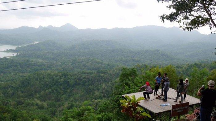 Pemandangan di Wisata Alam Kalibiru, Yogyakarta.