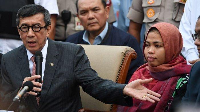 Menteri Hukum dan HAM Yasonna Laoly mengikuti Rapat Kerja dengan Komisi III DPR di Kompleks Parlemen, Senayan, Jakarta, Selasa (17/9/2019).