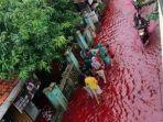 Kumpulan Foto Viral Banjir Berwarna Merah di Pekalongan yang Gegerkan Warga, Cek di Sini