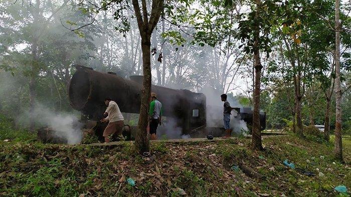 Kisah Bangkai Lokomotif Tua Peninggalan Jepang di Tengah Kebun, Saksi Bisu Kekejaman Romusha di Riau
