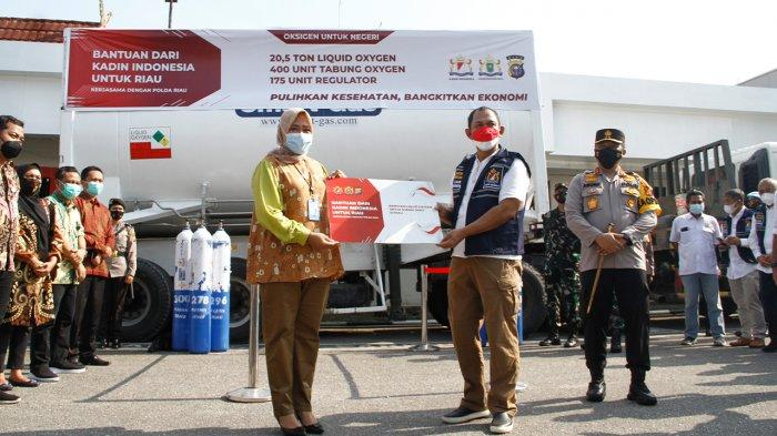 Kadin Riau Salurkan Bantuan 20,5 Ton Liquid Oksigen Ke Rumah Sakit di Pekanbaru
