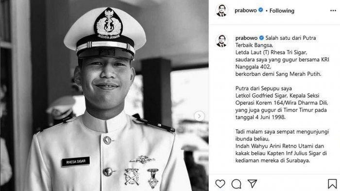 Profil Rhesa Tri Sigar, Keponakan Prabowo Koban KRI Nanggala-402