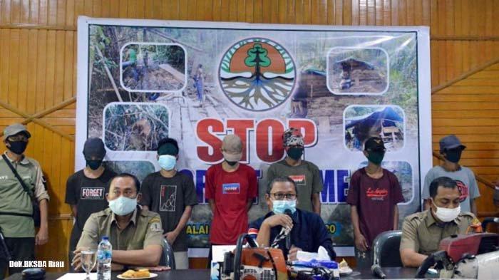 Tujuh Pelaku Pembalakan Liar di Kampar Riau Ditangkap